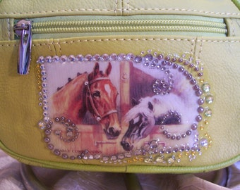 Yellow Leather Crossbody Purse with a Horse & Pony Scene and Rhinestones