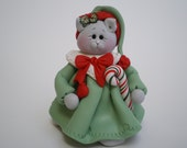 RESERVED FOR TERESA Polymer Clay Christmas Cat- by Helen's Clay Art