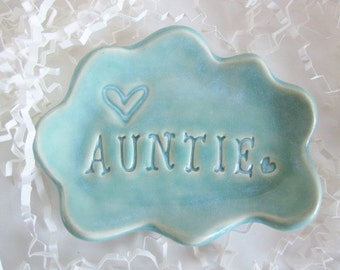 Auntie ring dish gift, cloud ring dish, handmade ring holder for  ceramic pottery