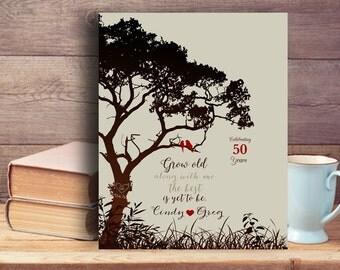 gift for parents gift for parents in law parents anniversary gift Custom Tree canvas print 25th anniversary personalized anniversary gifts