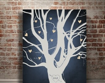 Gift for couple cotton anniversary 2nd year wedding anniversary 50th anniversary Personalized Family tree gift for her Gift for him Tree art