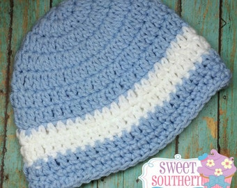 Blue and White Striped Crochet Beanie Boys 6-12 months
