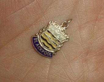 Sterling silver travel charm enamel Blackpool English seaside vintage for bracelet [2]