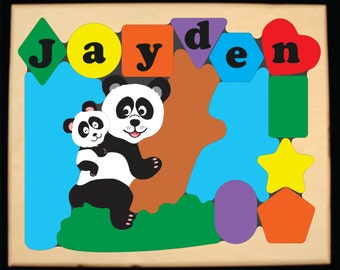Personalized Name Panda Bears Wildlife Animal Puzzle.  Educational toy puzzle for preschool toddler kids learn their name, shapes, colors.