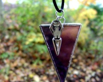 Goddess Necklace Stained Glass Jewelry Pendant Iridescent Purple Triangle Gothic Pagan Wicca Halloween Samhain Canadian Original Design©