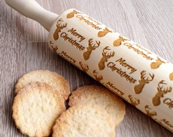 Merry Christmas rolling pin, embossing rolling pin, Deer Antlers Christmas embossing roller, cookies decorating rolling pin, Christmas gift