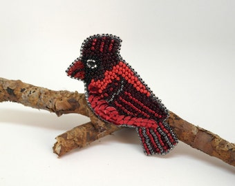 Beaded Red Cardinal Brooch, Bird Brooch, Beadwork, handmade, OOAK, red