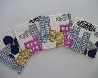Fabric Coaster Set of 4 Modern Cityscape Mid Century Modern