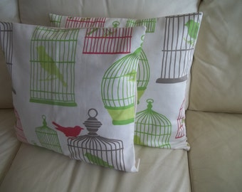 SALE ~ Bird Pillows ~ Set of 2 Throw Pillow Cover ~  Birdcage ~ 18 x 18 Pillow Cover ~ Hot Pink & Lime Green