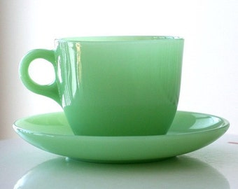 Fire King Jadite Jadeite St. Denis Cup and Saucer