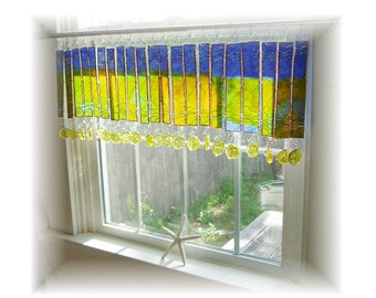 Everythings Coming Up Sunshine NUMBER THREE Stained Glass Window Valance Window Treatment Kitchen Bathroom Bedroom