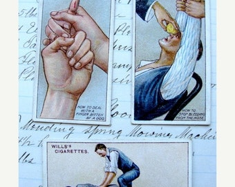 20PercentOff 100 Year Old Antique Medical First Aid Collector Cards Lot of 3