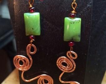 Bohemian coper earrings