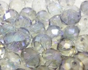 10mm Mystic AB Lavender Rondelle Crystal Beads,Mystic AB Rondelles 8 piece