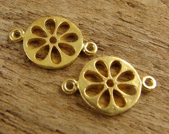 24K Gold Vermeil Cut Out Daisy Links - One Pair - lcodv