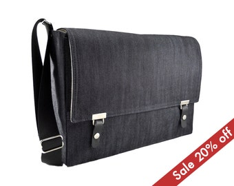 "15"" MacBook Pro messenger bag - dark blue denim"