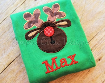 Chubby reindeer head applique shirt or body suit. Sizes NB to youth M. Personalization included.
