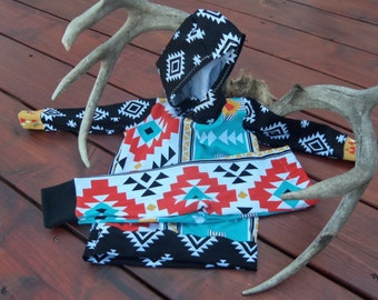 Baby Boy Sized 9-12 MO Tribal and Aztec Hoodie and Legging Set