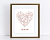 wedding vow art love heart - custom print, first anniversary paper, Valentine's gift, valentines day, personalised artwork, romantic lyrics