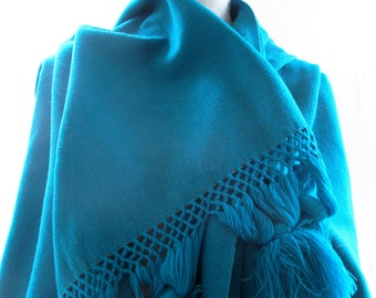 "Gorgeous Handwoven Vintage Shawl, Tassels, Deep Teal, Scarf, 26.5 Inches Wide, 78"" Long, Soft, Wrap"