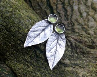 Sterling Silver Rose Leaf Stud Earrings, Peridot Silver Stud Earrings, Silver Peridot Leaf Studs, August Birthstone Earrings, Leaf Jewellery