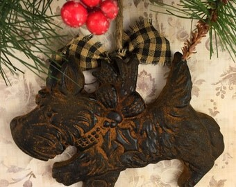 Blackened Beeswax Country Scottie Scottish Terrier Primitive Decor Scented Cinnamon Rusty Ornament - FREE SHIPPING
