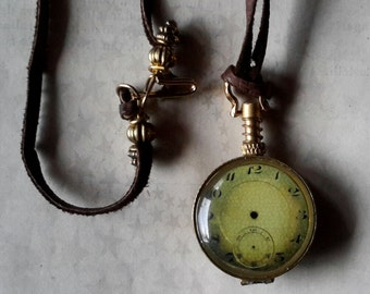 Timeless watch face pendant double faced necklace