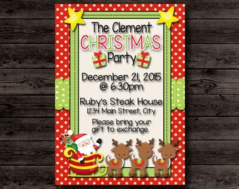 Christmas Party Invitation, Christmas Party Invite, Kids Christmas Party Invitations, Children Christmas Party, Child Christmas, Printable