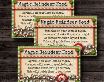 Reindeer Food Tags, Magic Reindeer Food,Reindeer Printable,Christmas Printable,Christmas Tags Printable,White Elephant Gift,Stocking Stuffer