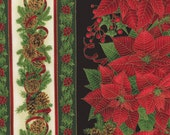 Black Red Green White Stripe Metallic Gold Christmas Fabric - Timeless Treasures - CM1939 - Chong a Hwang