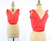 RESERVED 50s Blouse Cotton Small Medium / 1950s Vintage Wrap Top / Jo Collins Blouse