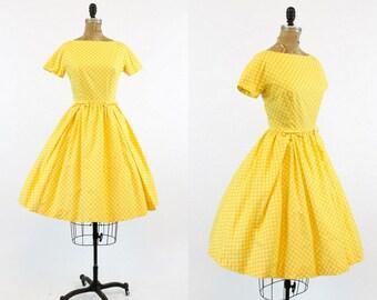 50s Lanz Dress Polka Dot Small / 1950s Vintage Dress /  The Sunshine Dress