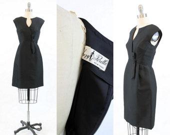 50s Dress Suzy Perette XS / 1950s Vintage Wiggle Silk Bow Dress / Pink Martini Dress