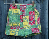 Vintage 60s Children's Shorts RASTA Shorts JAMAICAN Printed Kid's Shorts HIPSTER Baby Shorts