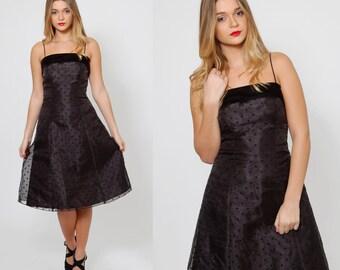 Vintage 80s POLKA DOT Party Dress Black Chiffon & Velvet COCKTAIL Dress Fit and Flare Pin Up Dress