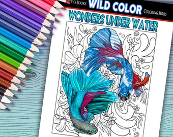 Wonders Under Water - Adult Coloring Book 30 pages - Printable Instant Download PDF