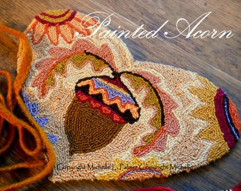 Painted Acorn Oak Leaves Harvest Heart Sunflowers Punch Needle Embroidery DIGITAL Jpeg and PDF PATTERN Michelle Palmer