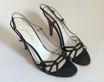 Vintage Garolini Made in Italy Stiletto Heels Made in Italy 8 1/2 Shoes // black evening strapy sandals pumps