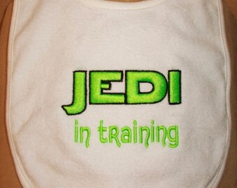 Embroidered Baby Bib- JEDI in TRAINING