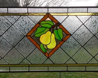 Pears Jubilee stained glass panel, botanical transom, hanging kitchen window