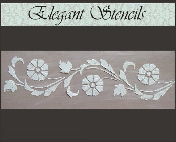 Raised plaster stencil art deco flower border wall stencil - Border stencils for painting ...
