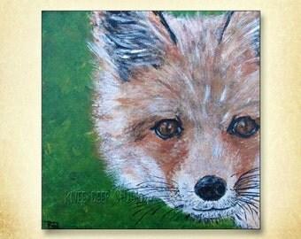 Red Fox Painting Fine Art Acrylic on Canvas Affordable Original Art Rustic Modern Decor Contemporary Realism Original Art Under 100