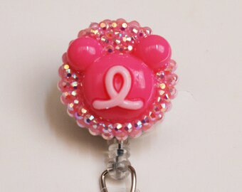 Breast Cancer Awareness And Mickey Mouse ID Badge Reel - Retractable ID Badge Holder - Zipperedheart