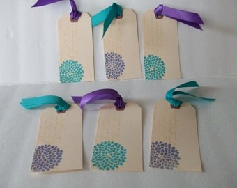 Teal Flowers Tags, Purple Flowers Tags, Handmade Pretty Flower Tags, 6 Tags with Script and Flowers