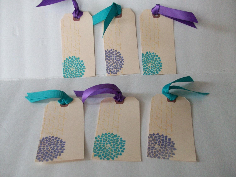 Purple Tag: Handmade Tags Teal Flowers Tags Purple Flowers Tags Tags