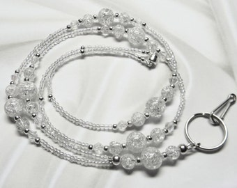 Beaded Lanyard Id Badge Holder Keyholder Crystal Crackle / White Quartz / Silver with MAGNETIC Breakaway Leash