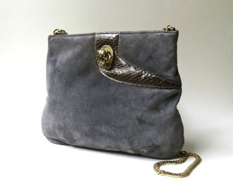 70s vintage Ruth Saltz  Dark Grey Suede Purse with Decorative Brown Snakeskin, Gold Metal Lion Head and Chunky Gold Chain Strap