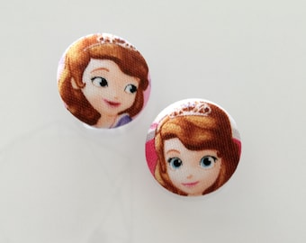 Set of 4 1 1/4 inch Fabric Buttons - Cute Sofia the First Fabric Button