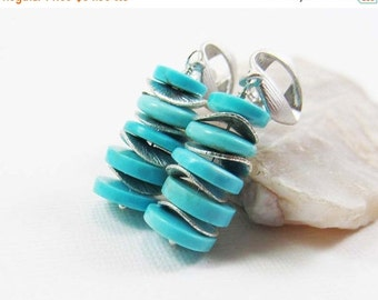 SUMMER SALE Sleeping Beauty Turquoise Gemstone . Sterling Silver Stacked Dangle Earrings . Robins Egg Aqua Blue . Bright Brushed Silver . E1
