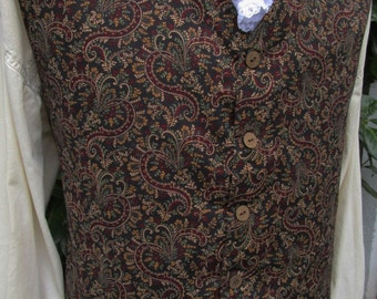 "Men's Brown & Burgundy Paisley design  V Neck  Rococo Colonial Regency Edwardian Style Vest Waistcoat 48"" (V5)   FREE SHIPPING!!"